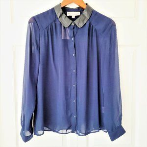 NWT Philosophy Pleather Trim Sheer Navy Blouse Med